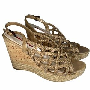 Prada Tan Braided Leather Wedges 6 NO OFFERS!